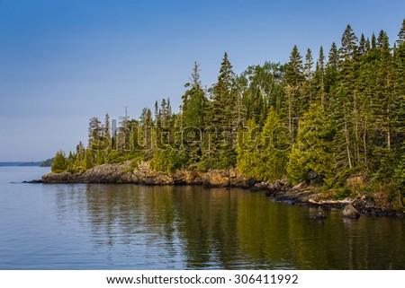 Sunrise, Rock Harbor, Isle Royale National Park, Michigan, USA - stock photo