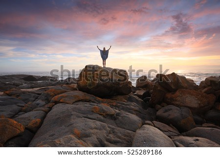 Sunrise Salute, beautiful skies and distinct orange red rocks at Eurobodalla National Park