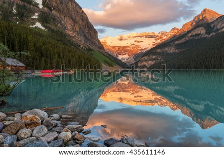 Sunrise Scene in the Canadian Rockies at Lake Louise Banff Canada   - stock photo