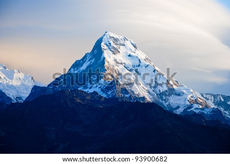 Sunrise scene of Annapurna south from Poon hill, Ghorepani, Nepal