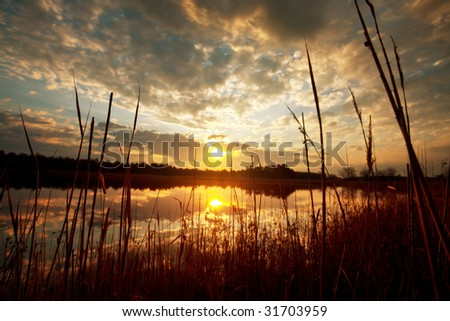Sunrise scene on lake