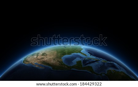 Sunrise, space view, USA. Elements of this image furnished by NASA. - stock photo