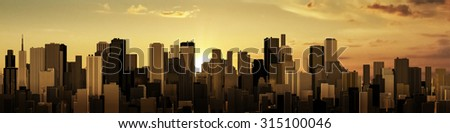 Sunrise-sunset city panorama / 3D render of modern city at sunrise or sunset - stock photo
