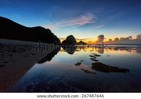 Sunrise view at Pantai Seger, Lombok - stock photo