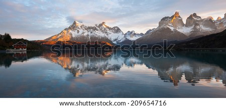 Sunrise view at Torres del Paine National Park, Chile - stock photo