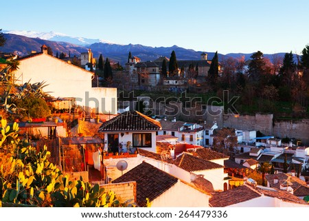 Sunrise view of  Alhambra with Sierra Nevada in  background.  Granada,  Spain - stock photo