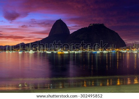 Sunrise view of Copacabana and mountain Sugar Loaf in Rio de Janeiro - stock photo