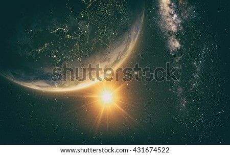 sunrise view of earth from space with milky way galaxy, 3d rendering. Elements of this image furnished by NASA - stock photo