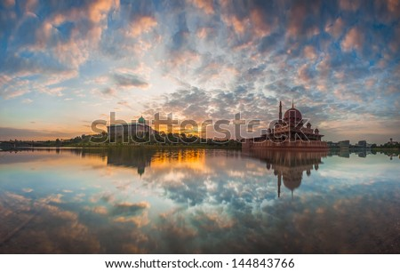 Sunrise view of Putra Mosque - stock photo