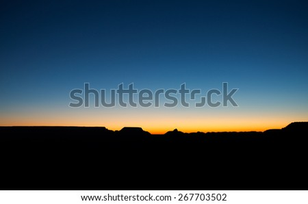 Sunrise view of the Grand Canyon sky from the famous Mather Point along the South Rim, Arizona landmark - stock photo