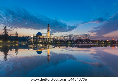 Sunrise view of Uniten Mosque - stock photo