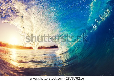 Sunrise Wave, Tropical Island Atoll, Nature Untouched Paradise   - stock photo