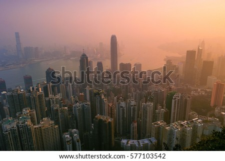 Sunrise with colorful sky over Hong Kong February 2017
