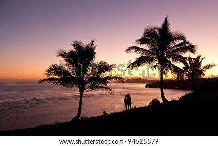 Sunrise with couple between two palm trees and looking towards Kilauea lighthouse - stock photo