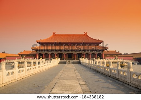 Sunrise with historical architecture in Forbidden City in Beijing, China.