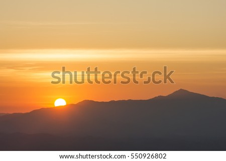 Sunrise with mountain view