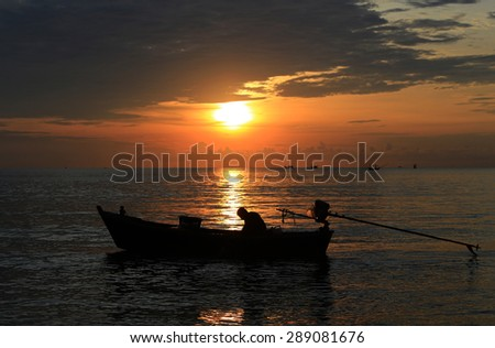 Sunrise with the fisherman from Thailand