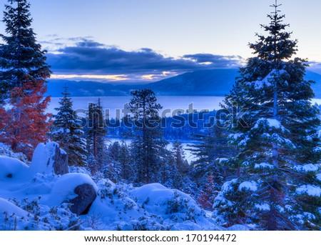 Sunrises over Lake Tahoe in California. - stock photo