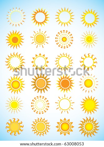 Suns. Elements for design. - stock photo