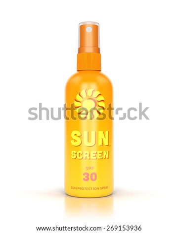 Sunscreen spray isolated on white glossy background. Summer, sun protection and tanning concept. - stock photo
