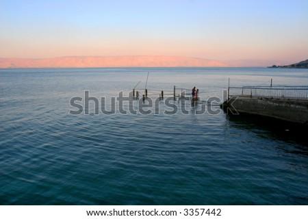 Sunset above lake Kineret - stock photo