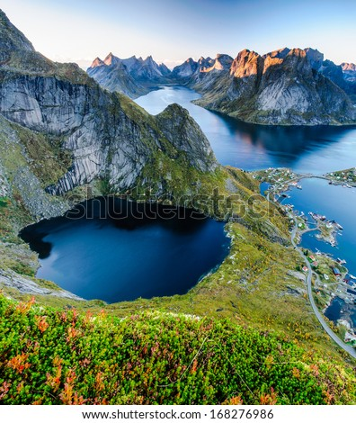 Sunset aerial panoramic view on stunning mountains of Lofoten islands, Norway - stock photo