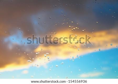 Sunset after rain - stock photo