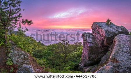Sunset after storm at High Rock along the Pine Mountain Trail in Kentucky - stock photo