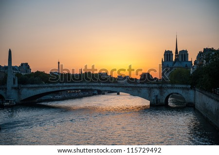 Sunset along the Seine River in Paris, France - stock photo