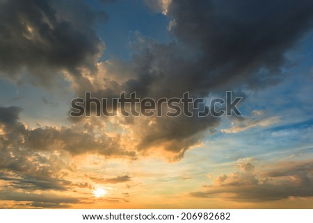 sunset and abstract sky - stock photo