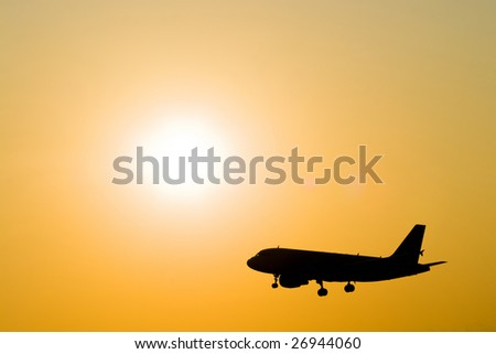 Sunset and aircraft