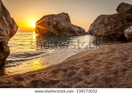 sunset and beach - stock photo