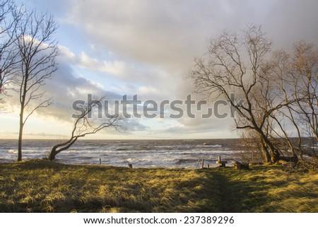 sunset and beach - stock photo