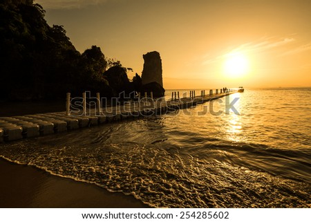 sunset and beach in krabi Thailand - stock photo
