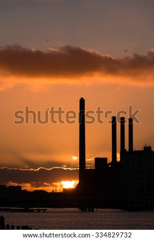 Sunset and industry building