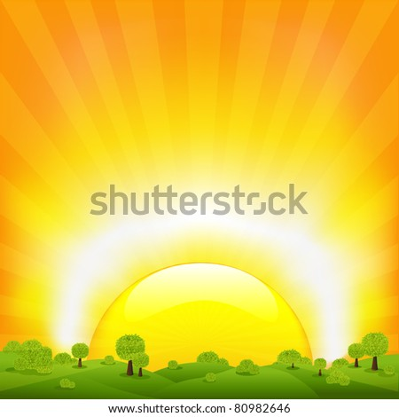 Sunset And Landscape - stock photo
