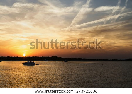 sunset and luxury yacht in the sea, Croatia - stock photo