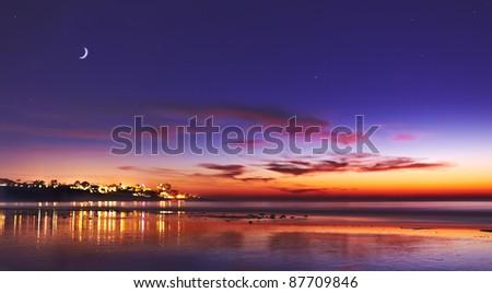 Sunset and Moon at La Jolla Shores San Diego, California - stock photo