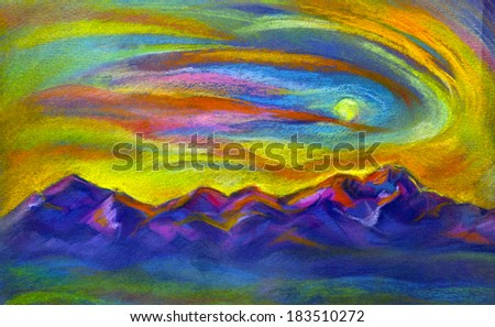 sunset and mountain painted pastel - stock photo