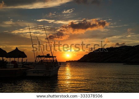Sunset and night around Blue bay Views around Curacao a Caribbean Island  - stock photo