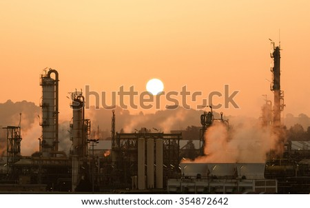 Sunset and Polluting Industries - stock photo