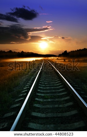 Sunset and railway.