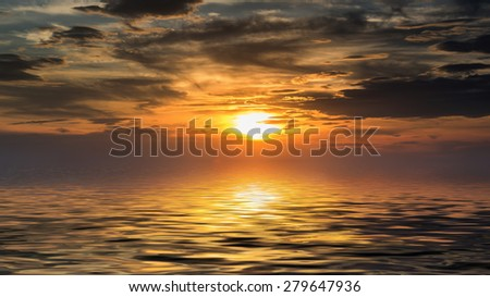 sunset  and reflection water - stock photo