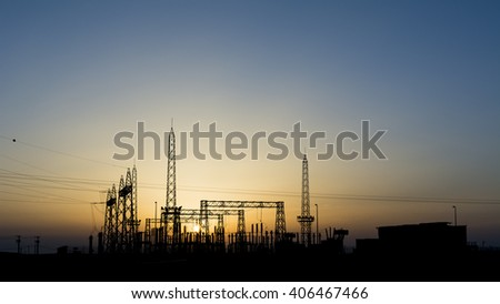 Sunset and silhouette of electrical sub station