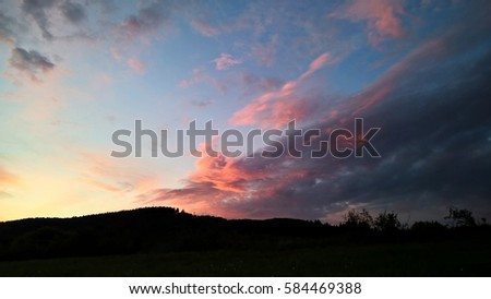 stock photo sunset and sunrise with dramatic colorful clouds slovakia 584469388 - Каталог — Фотообои «Закаты, рассветы»