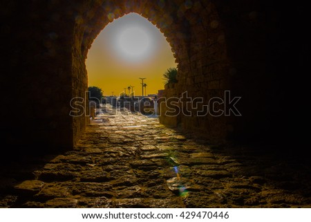 sunset and the hidden Bride at the Byzantine Ruins in Israel