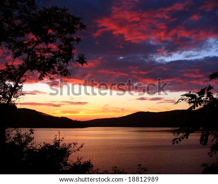 Sunset as a hell - stock photo