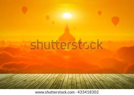 Sunset at ancient temple in Bagan, Myanmar - stock photo