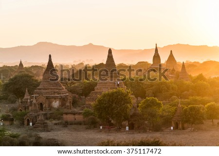 Sunset at Ancient Temples in Bagan, Myanmar,Silluate