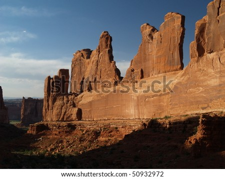 sunset at arches national park - stock photo